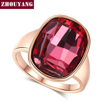 Top Quality ZYR124 Gold Nobleness Red Crystal Ring Rose Gold Color Austrian Crystals Full Sizes Wholesale